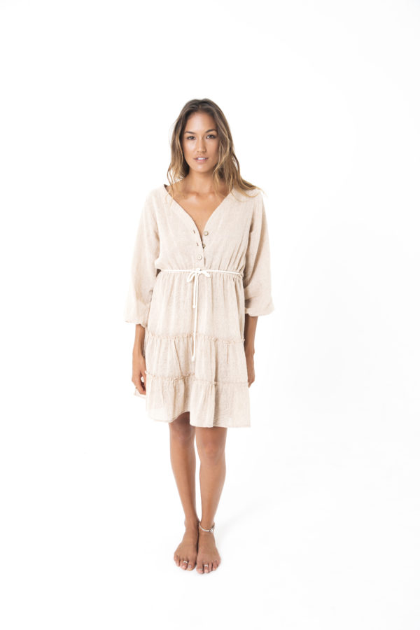 folklore maple midi-length frill dress kamala kaftan
