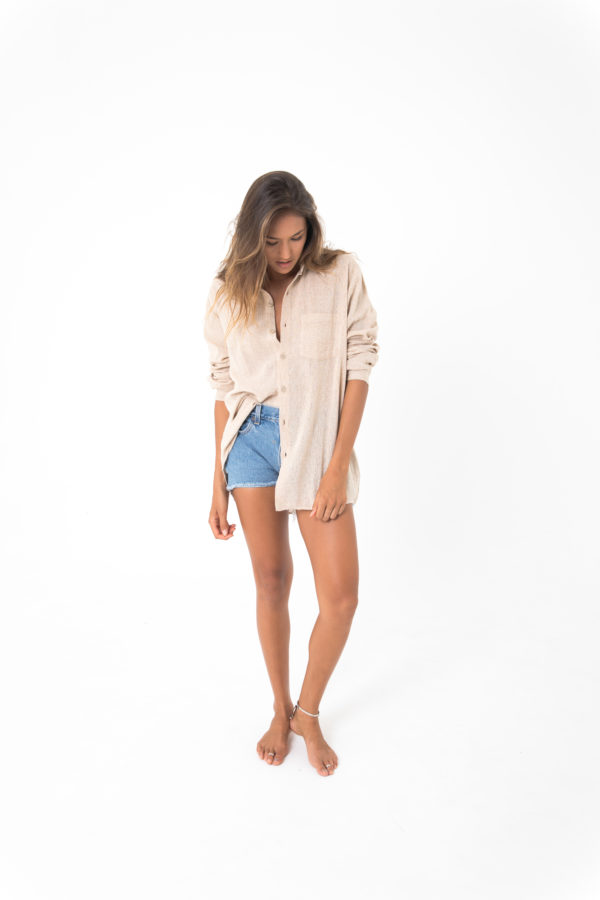honey oversized boyfriend shirt sand kamala kaftan